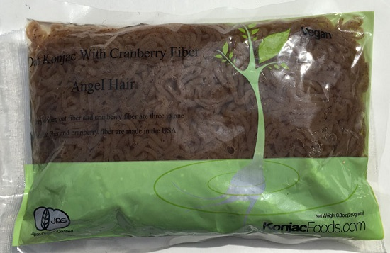 Konjac Oat Cranberry Fiber Pasta - Angel Hair Front Package